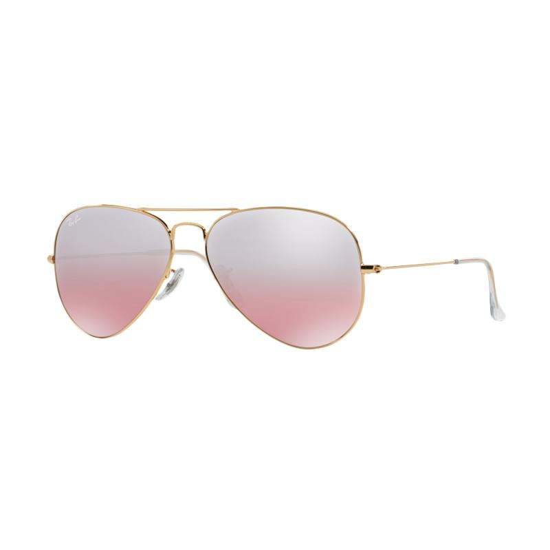 Ray-Ban 001-3E Large Metal RB3025 Crys.Brown-Pink Silver Mirror Aviator Sunglasses - Gold [Size 58]