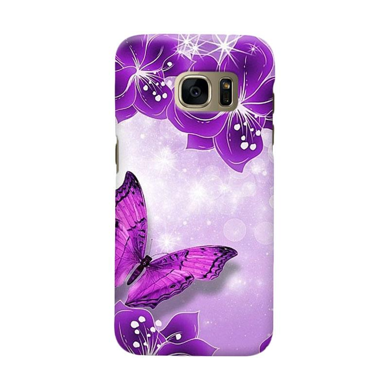 Indocustomcase Purple Butterfly Casing for Samsung Galaxy S7 Edge