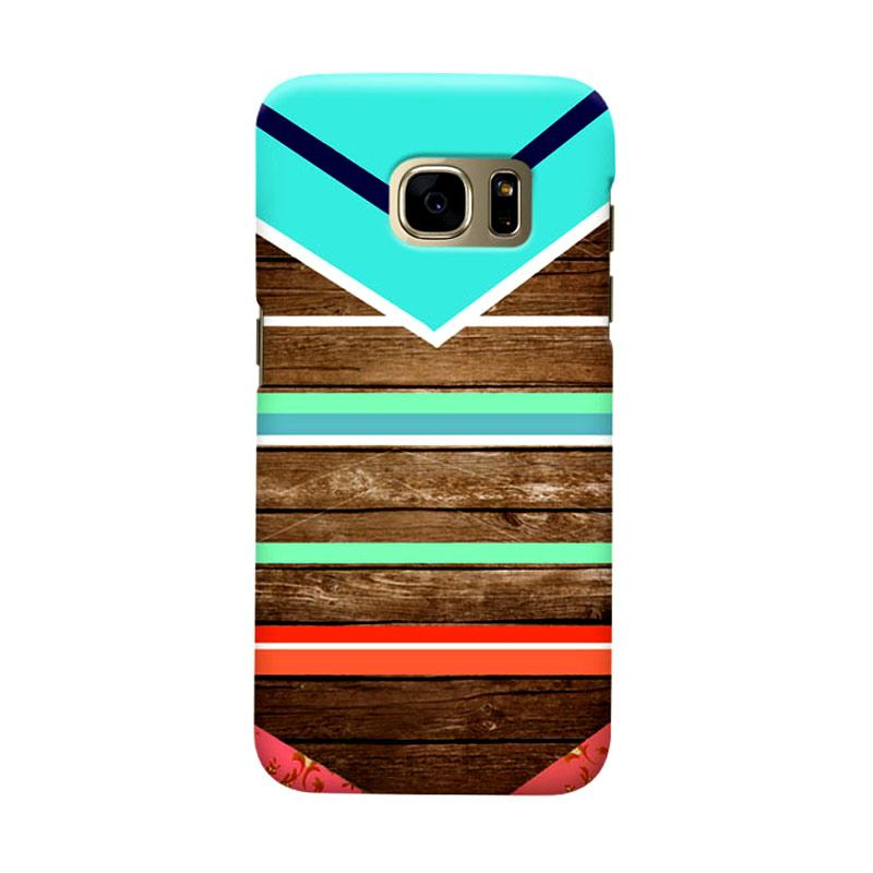 Indocustomcase Wooden Geometric Tosca Cover Casing for Samsung Galaxy S6