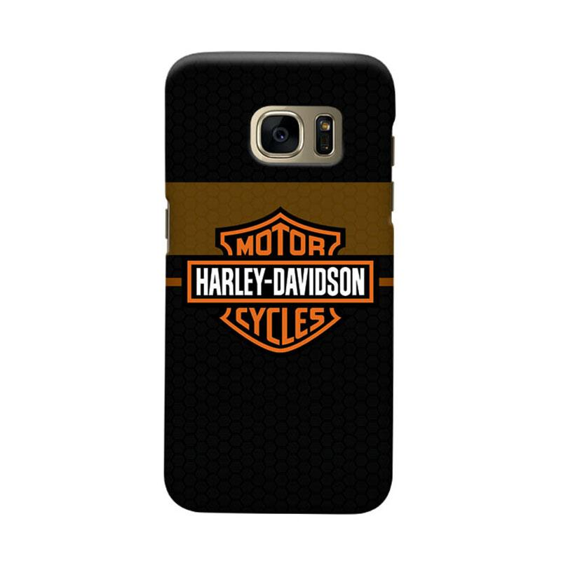 Indocustomcase Harley Davidson Logo Carbon Cover Casing for Samsung Galaxy S7