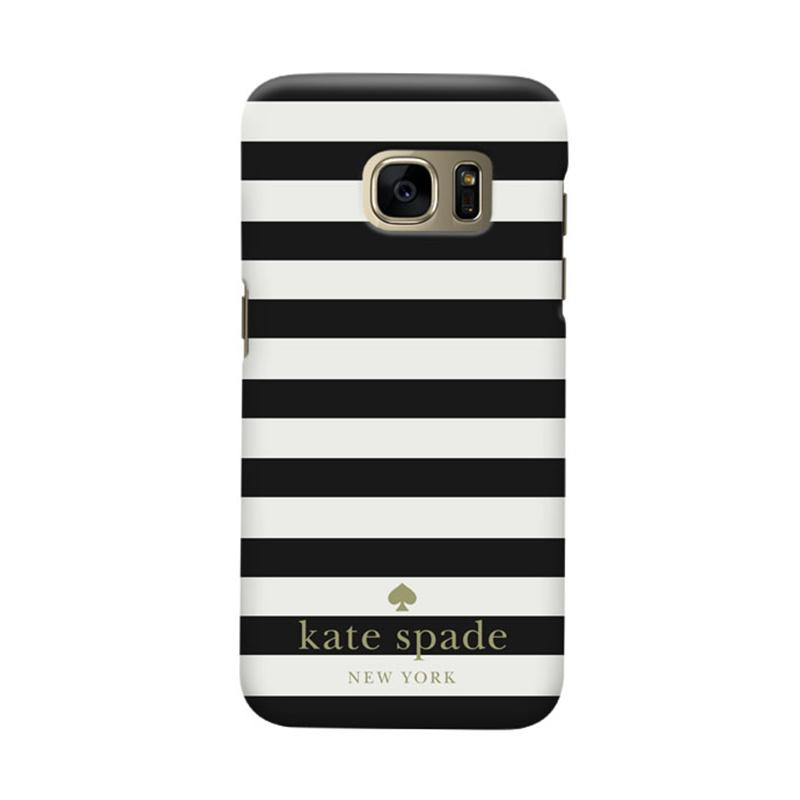 Indocustomcase Kate Spade Black Stripe RB Cover Casing for Samsung Galaxy S7 Edge
