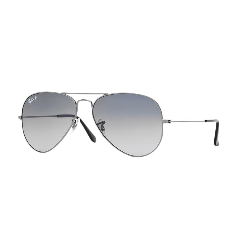 Ray-Ban 004-78 Large Metal RB3025 Crystal Polar Blue Grad Grey Aviator Sunglasses - Gunmetal [Size 58]