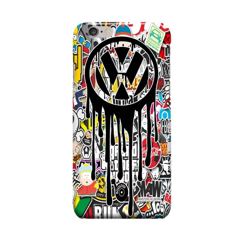 Indocustomcase VW Sticker Bomb Cover Casing for Apple iPhone 6 Plus or 6S Plus