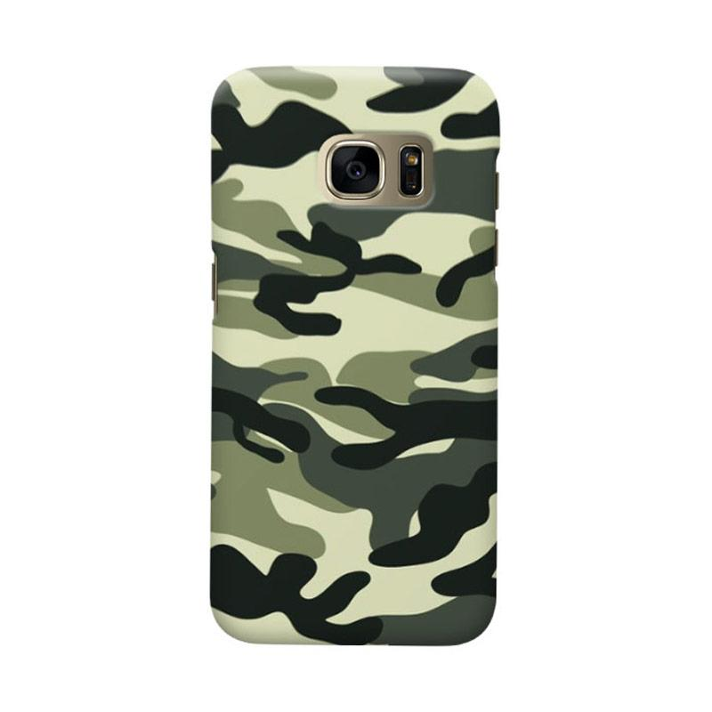 Indocustomcase Army Green Camoflauge Casing for Samsung Galaxy S6 Edge