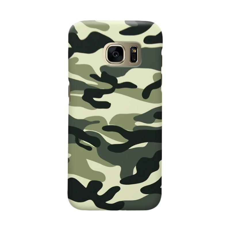 Indocustomcase Army Green Camoflauge Cover Casing for Samsung Galaxy S7 Edge