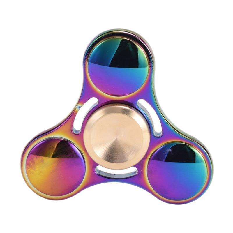 JJET Spinner ID Dazzle 3 Head Metal Hand Toys Fidget Spinner Mainan Edukasi - Rainbow