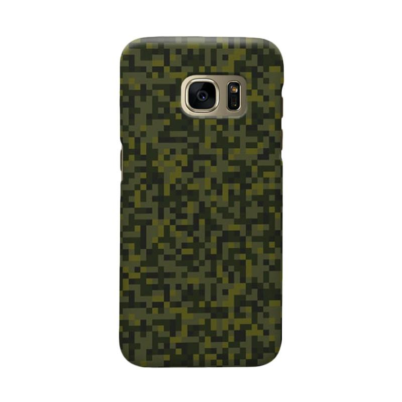 Indocustomcase Army Green Camoflauge 2 Cover Casing for Samsung Galaxy S7 Edge