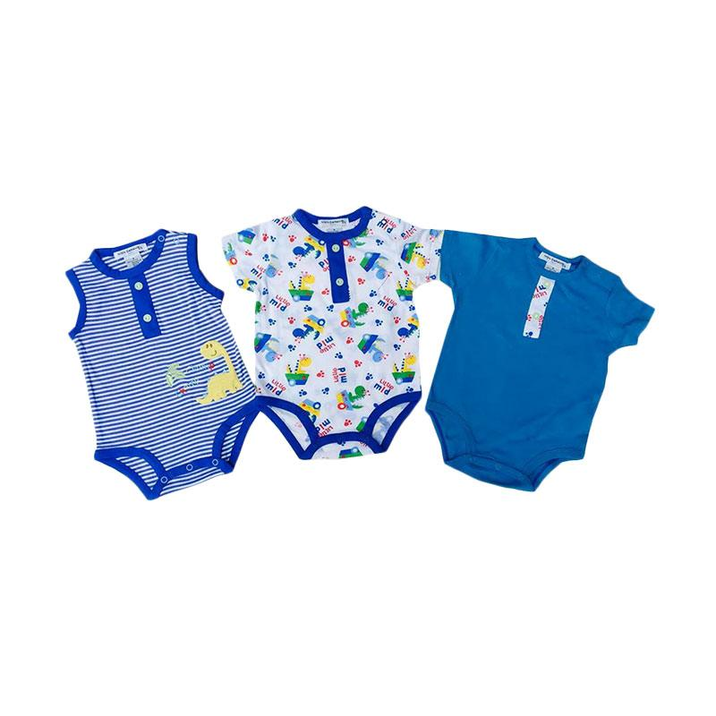 Chloe Babyshop Style Boy Rompers 3in1 Dino Import Thailand Set Baby Jumpers - Biru