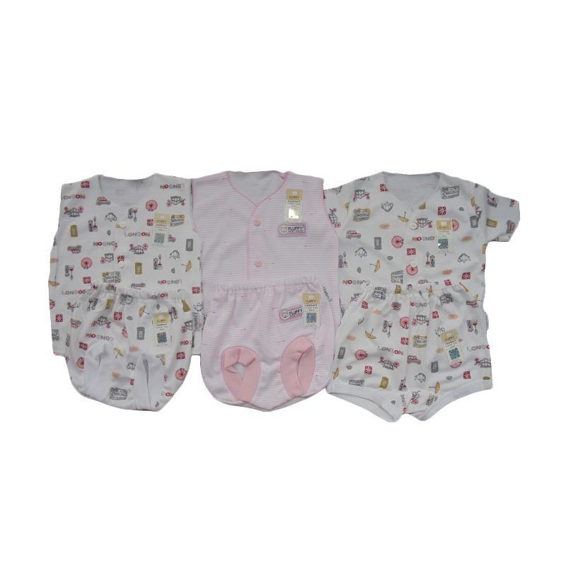 Fluffy Neci Salur & London Set Setelan Bayi - Putih Pink