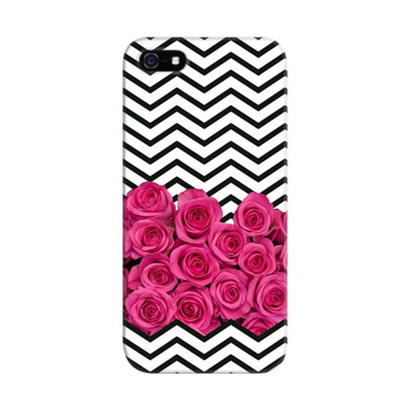 Indocustomcase Floral Cevhron Stripes Custom Hardcase Casing for iPhone 5/5S/SE