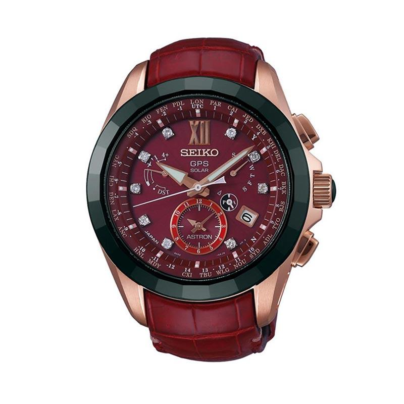 Seiko Astron GPS Dual Time Limited Edition with Diamonds SBXB080 Jam Tangan Pria - Red Rose Gold