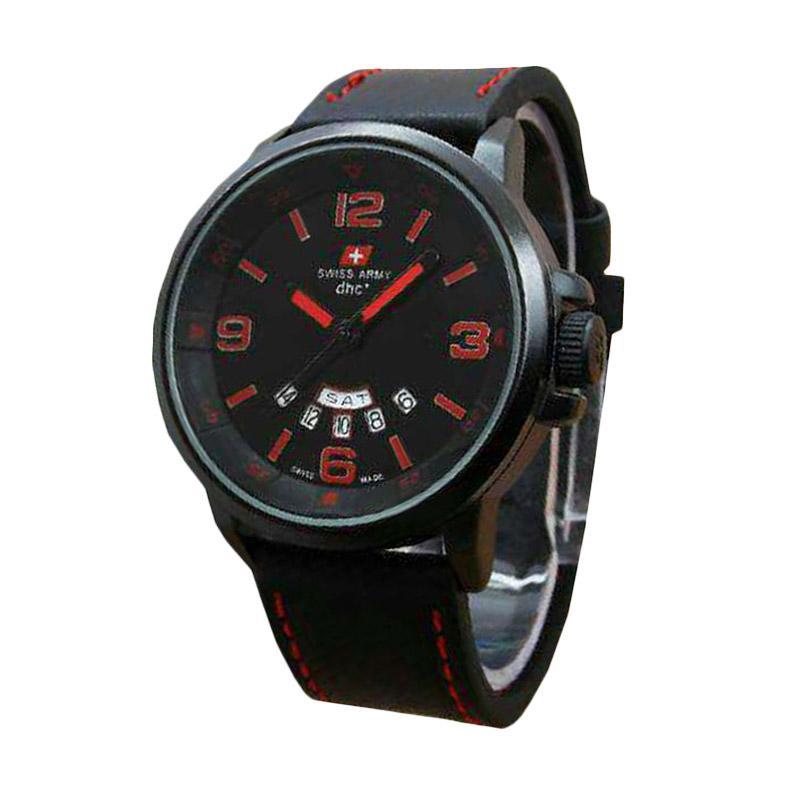 Swiss Army Maskulin 1128HM Water Resistant Sport Watch Jam Tangan Pria - Hitam Merah