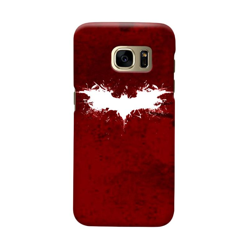 Indocustomcase Batman Grunge Logo Red Cover Casing for Samsung Galaxy S7 Edge