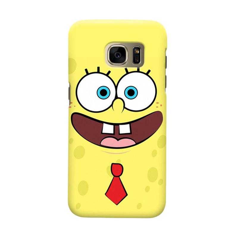 Indocustomcase Cartoon Spongebob Face Cover Casing for Samsung Galaxy S6 Edge