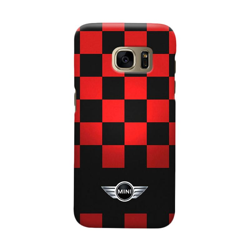 Indocustomcase Mini Cooper Racing Flag Cover Hardcase Casing for Samsung Galaxy S7 Edge
