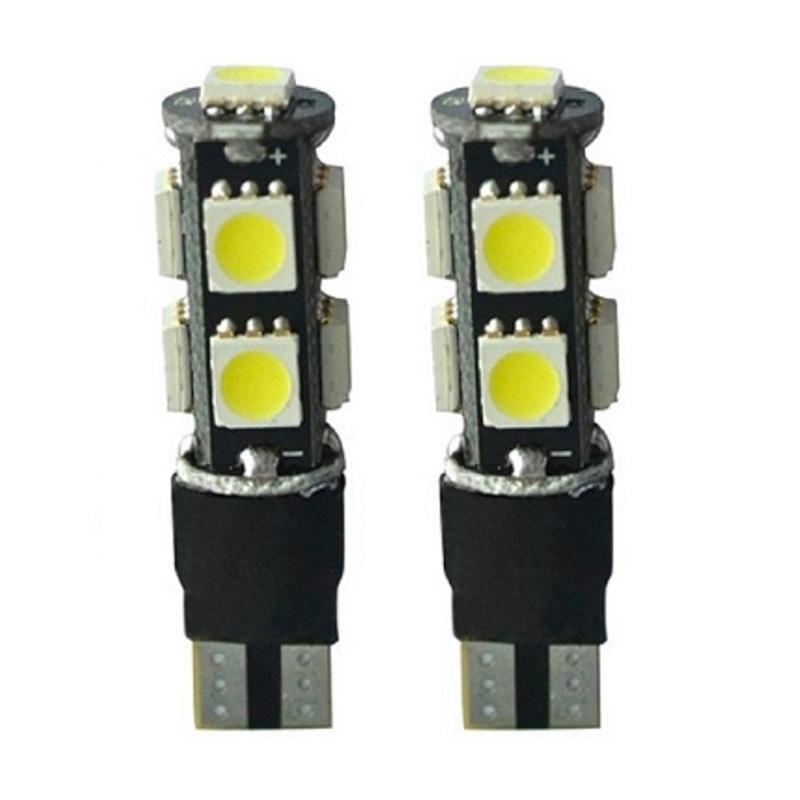 JMS T10 9 SMD 5050 Bohlam Lampu Senja LED Mobil Dan Motor Strobe Flash Modes Lampu Strobo - Red [1 Pair/2 Pcs]