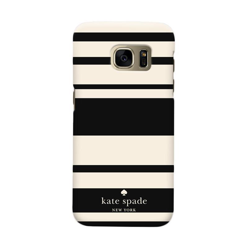 Indocustomcase Kate Spade Black Stripe Cover Casing for Samsung Galaxy S7 Edge