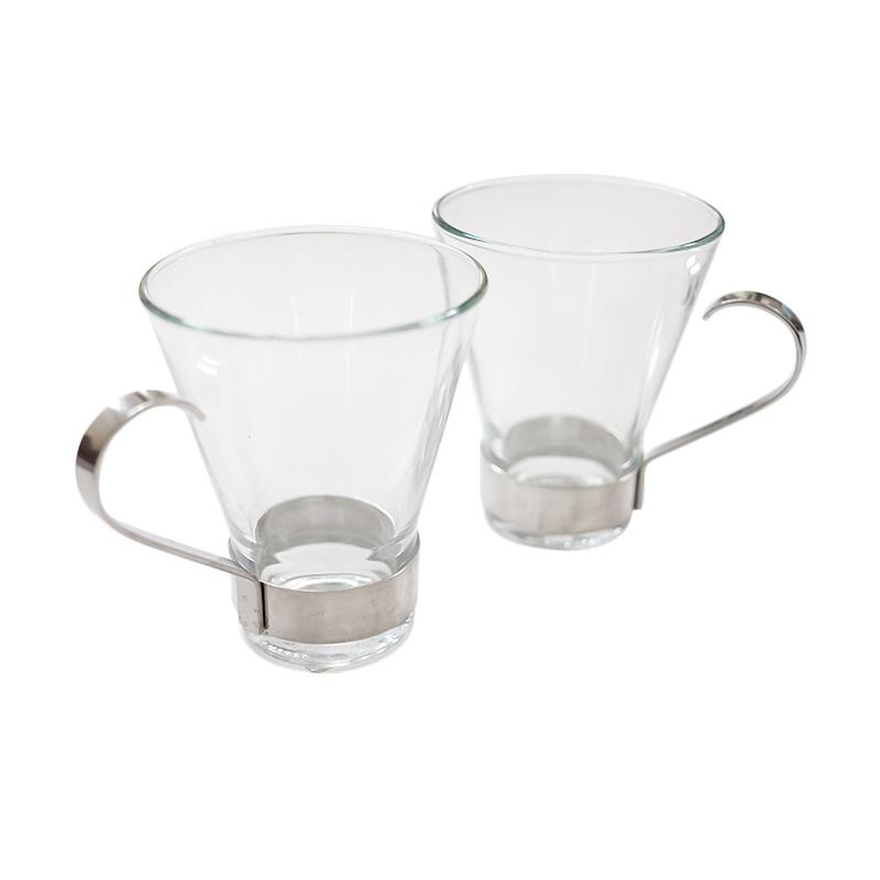 Bormioli Rocco Ypsilon Coffee Cup with Stainless Steel Handle Cangkir Minum [2 pcs]