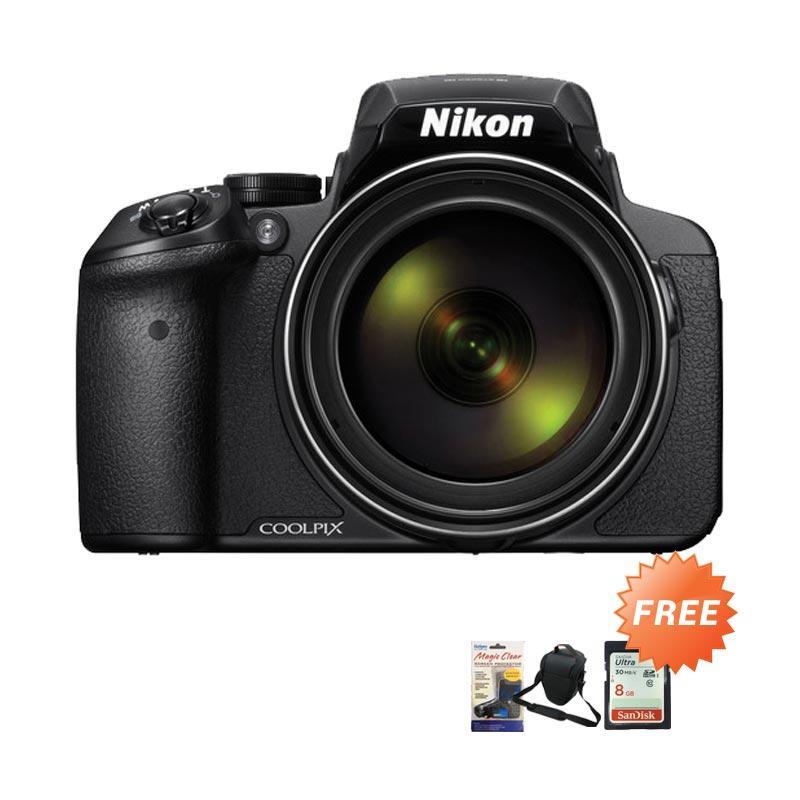 Nikon Coolpix P900 83x Optical Zoom Kamera DSLR - Hitam [16 MP] + Free Tas Kamera + Memory 8 GB + Screen Protector