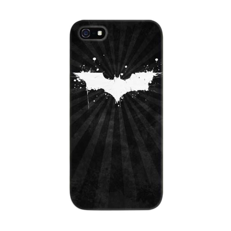 Indocustomcase Batman Grunge Logo Black Cover Hardcase Casing for Apple iPhone 5/5S/SE