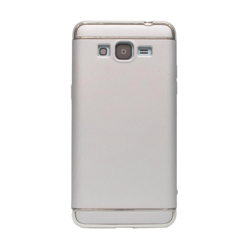 OEM Case 3 in 1 Plated PC Frame Bumper with Frosted Hardcase Casing for Samsung Grand Prime G530 - Silver
