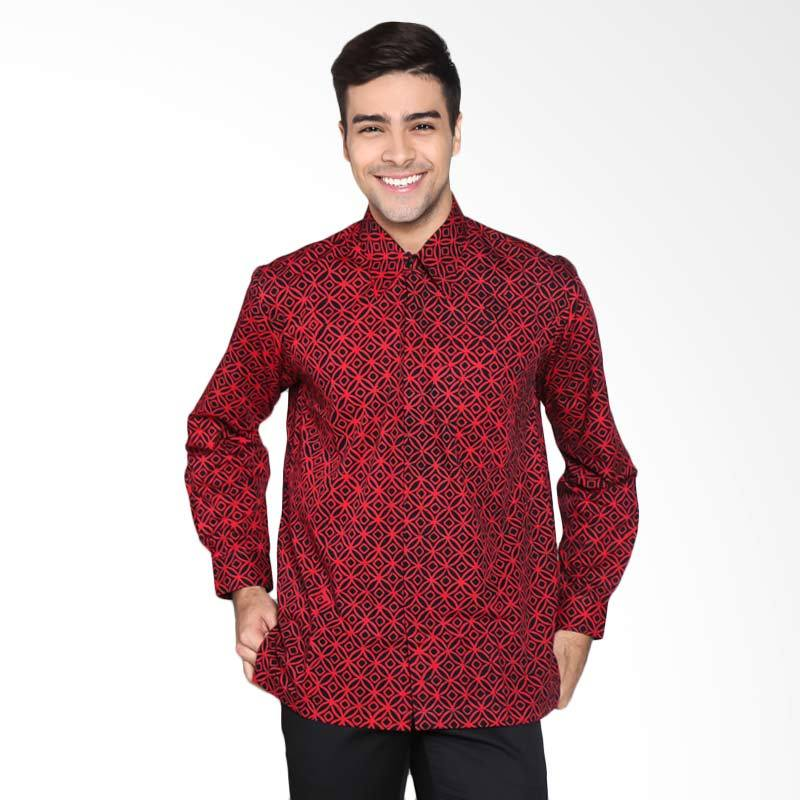 Batik Pria Tampan PKMPJ-04081692C Men Long Sleeve Modern Wedding Ring Shirt Batik Pria - Red