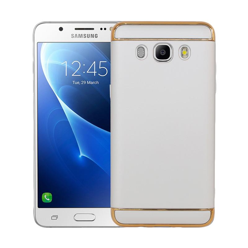 OEM 3in1 Plated PC Frame Bumper with Frosted Hard Backcase Casing for Samsung Galaxy J5 2016 or J510 - Silver