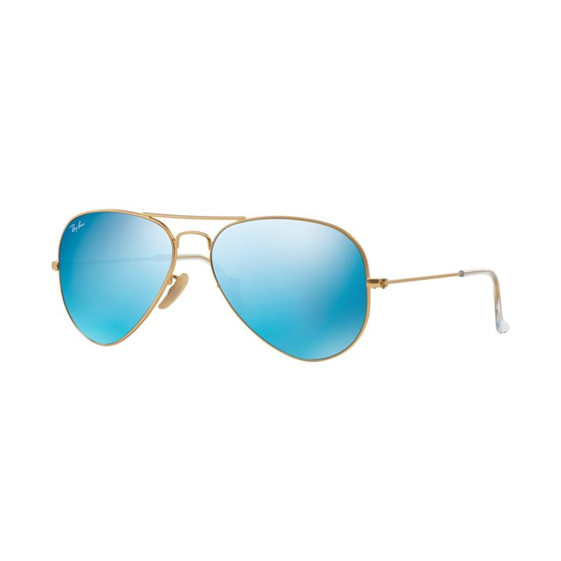 Ray-Ban Aviator Large Metal RB3025 Matte Gold 112-17 Sunglasses - Cry Green Mirror Multil Blue [Size 62]