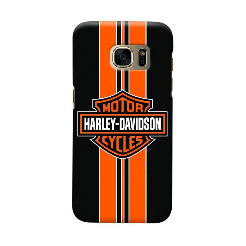 Indocustomcase Harley Davidson Stripe Logo Cover Casing for Samsung Galaxy S7