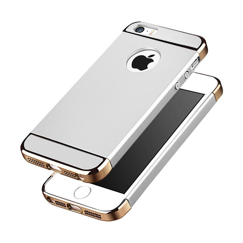 Fashion Case 3 in 1 Plated PC Frame Bumper with Frosted Hard Back Casing for iPhone 5/5S/5G - Silver