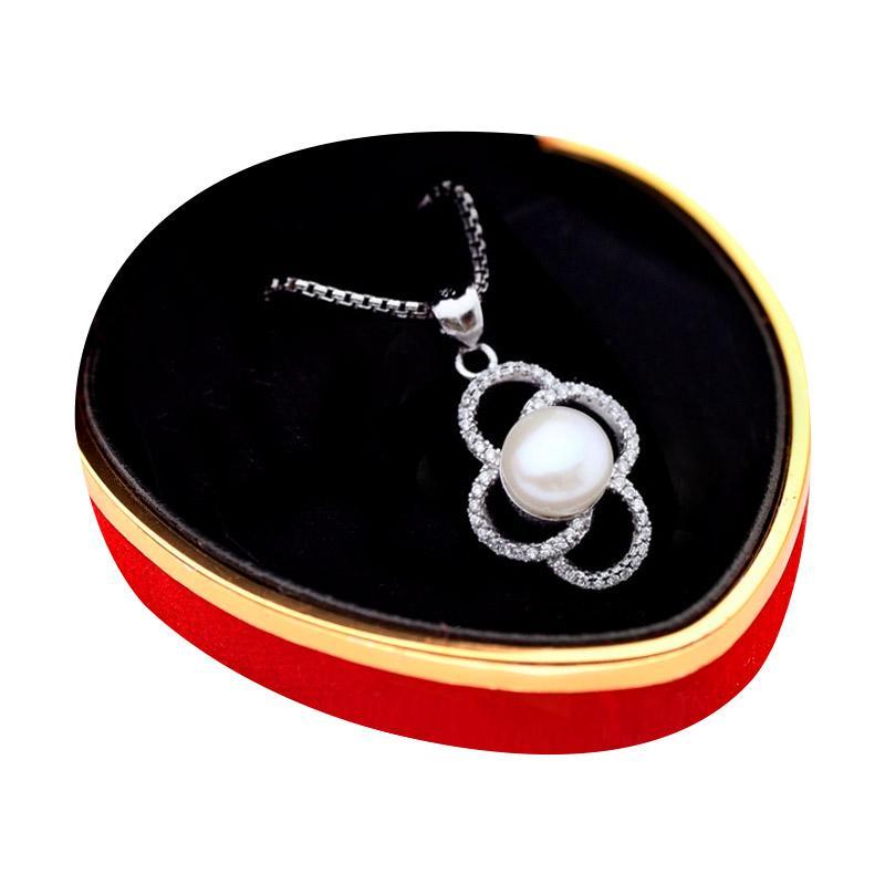 Royale Jewel  WGP 078C - Kalung Perak Emas Putih dan Mutiara Asli with White Gold Sterling Chain
