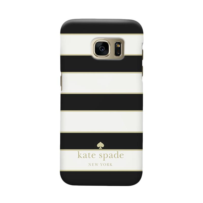 Indocustomcase Kate Spade Black Striped Cover Casing for Samsung Galaxy S7 Edge
