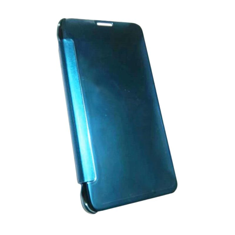 harga Case Mirror Flip Cover Casing for Samsung Galaxy Note 4 - Biru Blibli.com