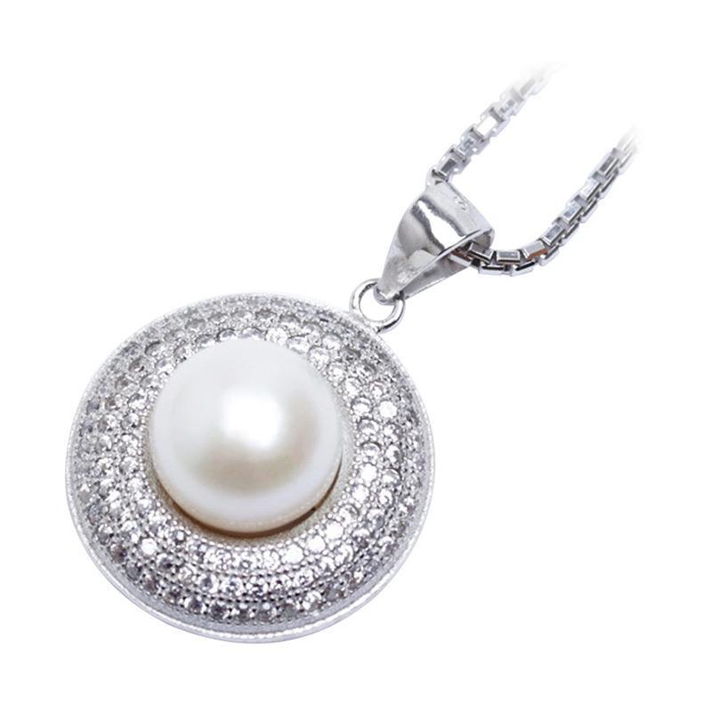 Royale Jewel  WGP 099C - Kalung Perak Emas Putih dan Mutiara Asli with White Gold Sterling Chain