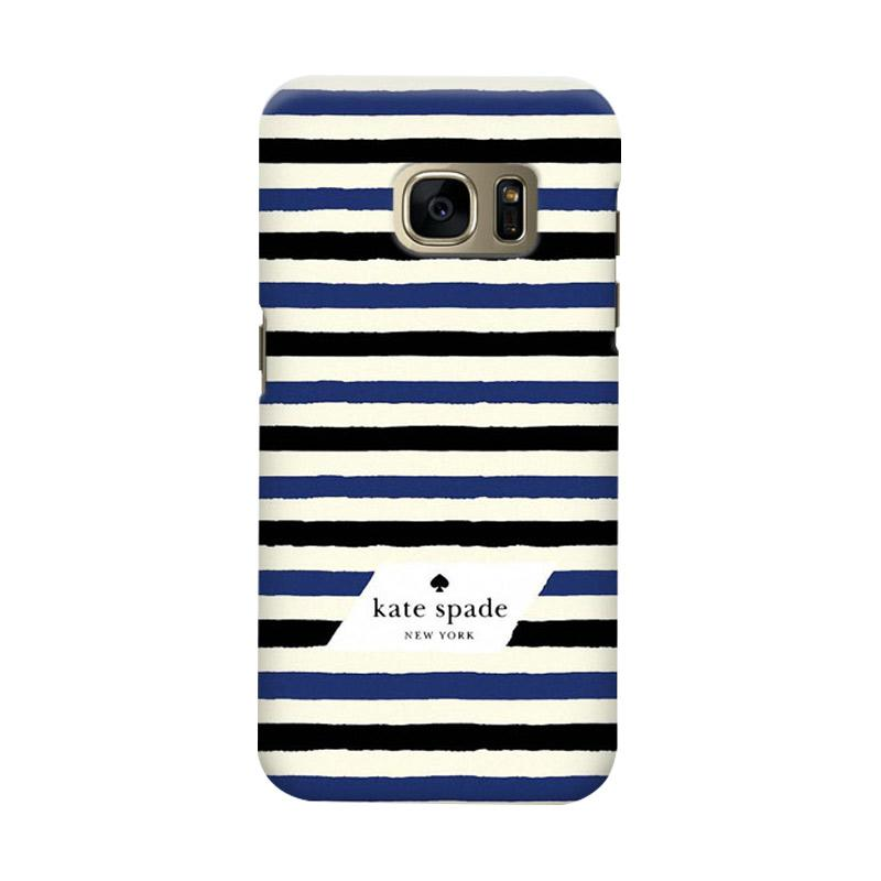 Indocustomcase Kate Spade Blue Black Stripe Cover Casing for Samsung Galaxy S6