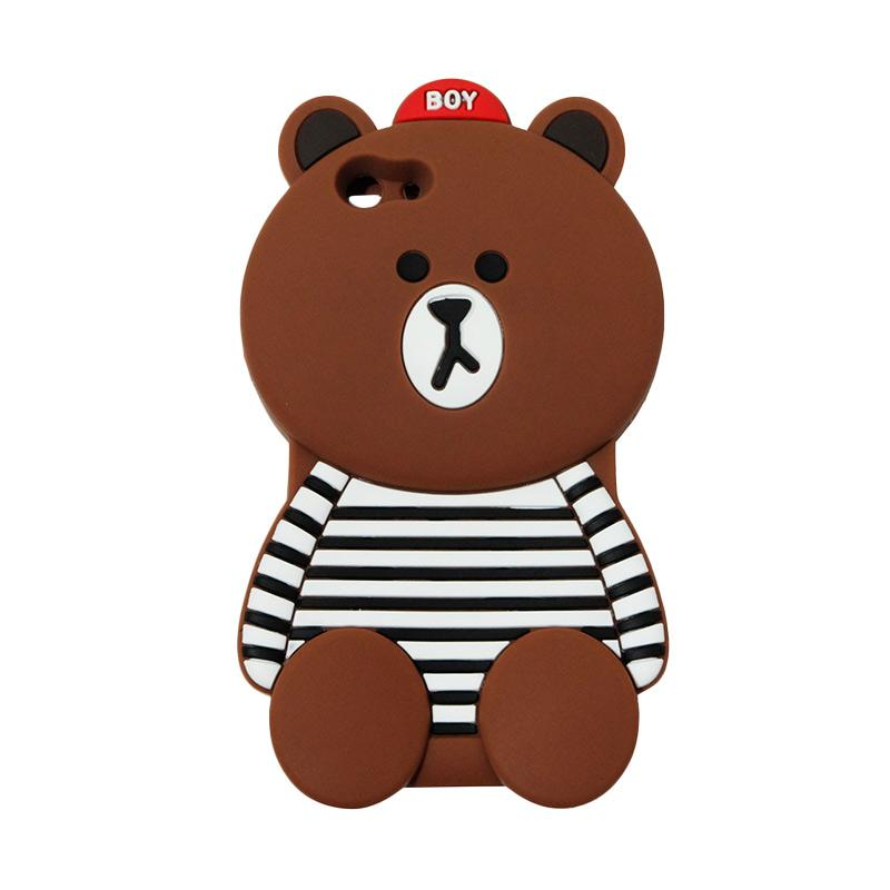 VR 3D Boy Bear Brown List Edition Silicon Softcase Casing for Oppo F1S Selfie Expert or A59 - Brown