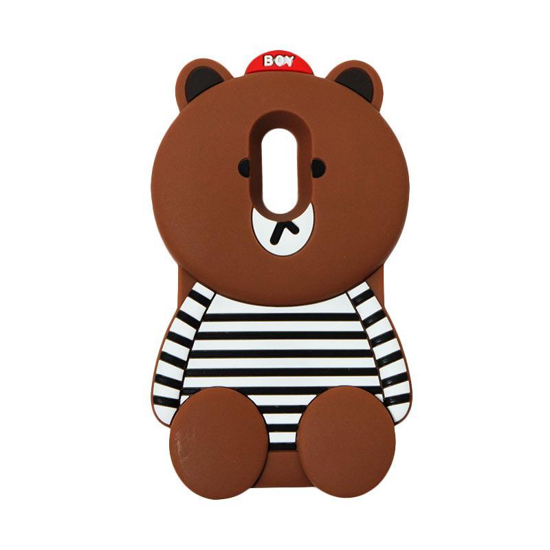 VR Silicon 3D Karakter Boy Bear Brown List Edition Softcase Casing for Xiaomi Redmi Note 4 - Brown