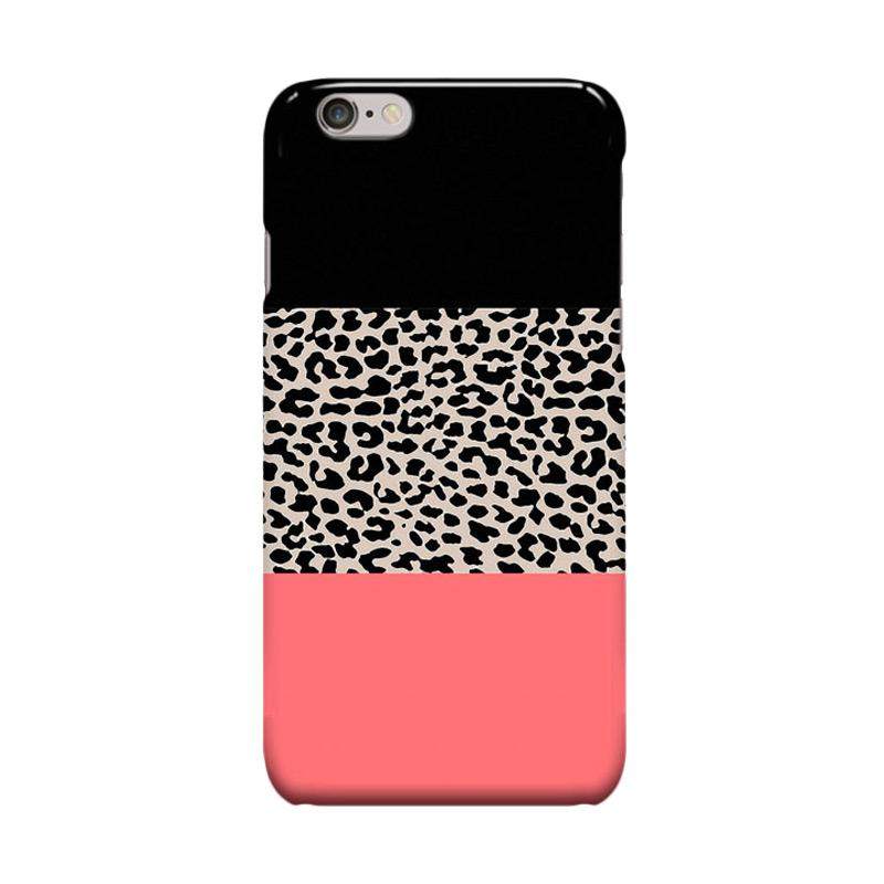 Indocustomcase Leopard National Flag Black Casing for Apple iPhone 6 Plus or 6S Plus