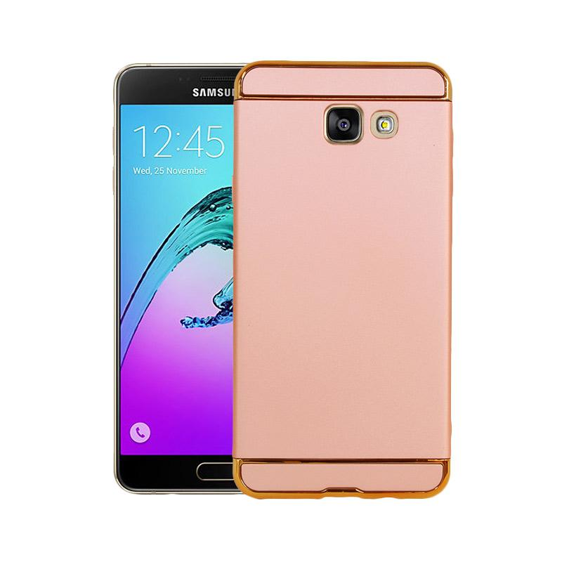 OEM 3in1 Plated PC Frame Bumper with Frosted Hard Backcase Casing for Samsung Galaxy A7 2016 or A710 - Rose Gold