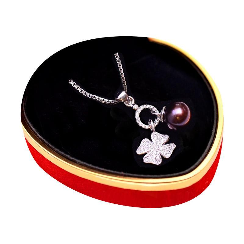 Royale Jewel WGP 081B Rare Black Pearl Kalung Perak Emas Putih dan Mutiara Asli with Velvet Box