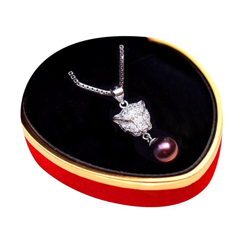 Royale Jewel  WGP 082B Rare Black Pearl Kalung Perak Emas Putih dan Mutiara Asli with Velvet Box