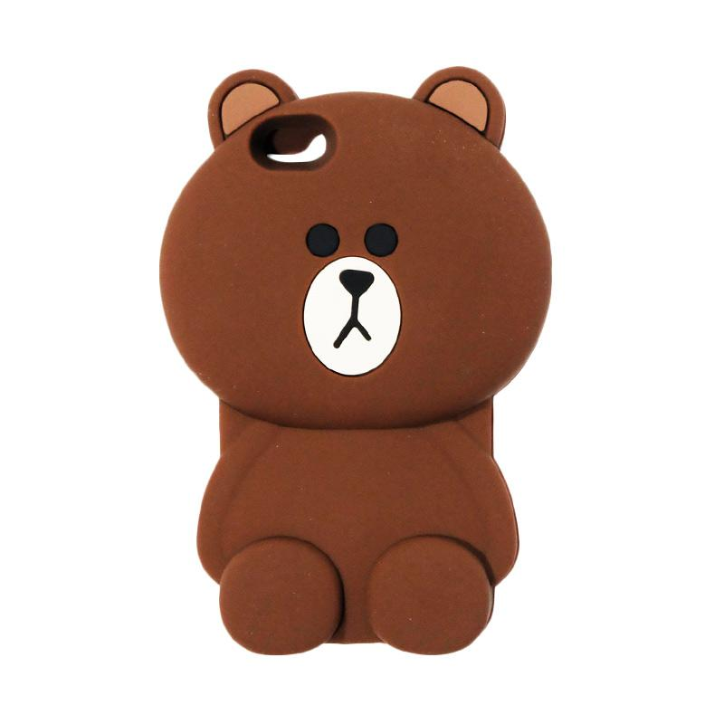VR Karakter 3D Bear Brown Line Edition Softcase Silicon Casing for Apple iPhone 6G or 6S 4.7 Inch - Brown