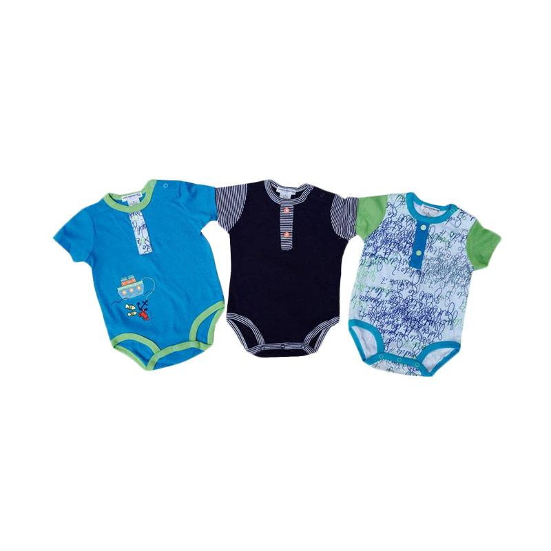 Chloe Babyshop Style Rompers 3in1 Fish And Crab Import Thailand Set Baby Jumpers - Biru