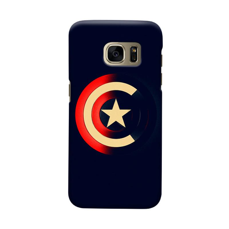 Indocustomcase Captain America Shield CAS04 Cover Casing for Samsung Galaxy S7 Edge
