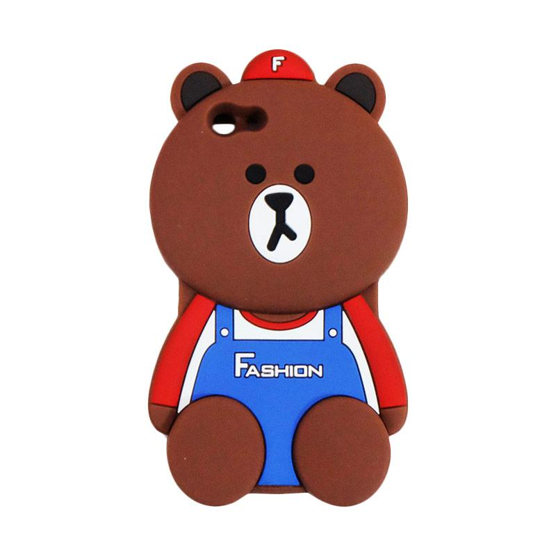 VR Karakter 3D Bear Fashion Edition Softcase Silicon Casing for Oppo F1S Selfie Expert or A59 - Brown