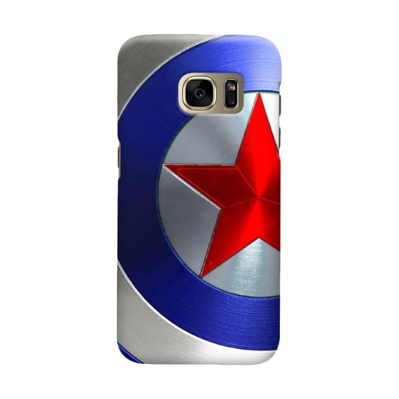 Indocustomcase Captain America Shield CAS07 Cover Casing for Samsung Galaxy S7 Edge