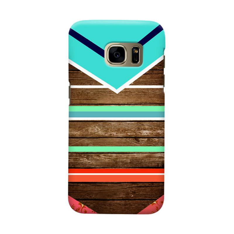 Indocustomcase Wooden Geometric Cover Casing for Samsung Galaxy S7 Edge - Tosca