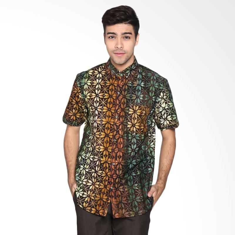 Batik Pria Tampan PKMPD-04081685C Men Arrowhead Dot Grid Slimfit Shirt Batik Pria - Chocolate