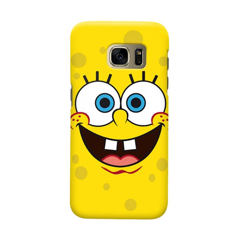 Indocustomcase Cartoon Spongebob Smile Face Cover Casing for Samsung Galaxy S6 Edge