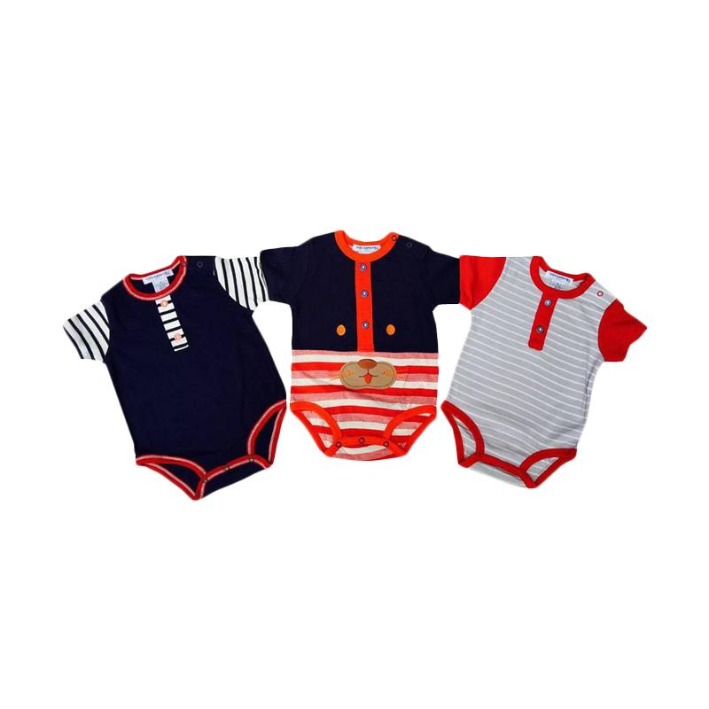 Chloe Babyshop Style Rompers 3in1 cat Botton Import Thailand Set Baby Jumpers - Merah